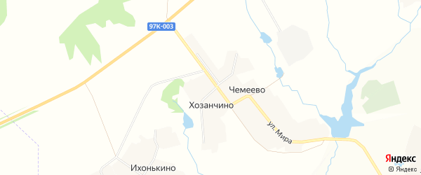 Карта деревни Хозанчино в Чувашии с улицами и номерами домов