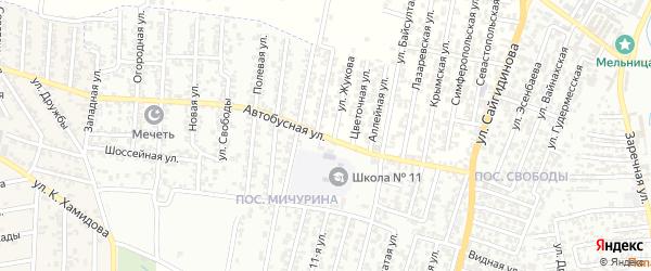 Улица Центральная Усадьба на карте поселка Мичуриной с номерами домов