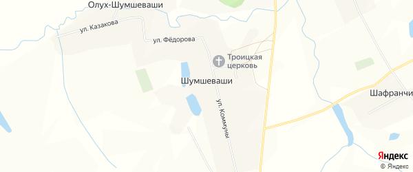 Карта села Шумшевашей в Чувашии с улицами и номерами домов