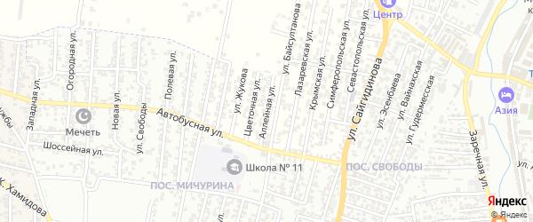 Аллейная улица на карте Хасавюрта с номерами домов
