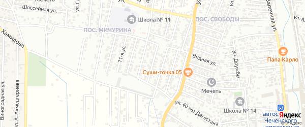13-я улица на карте поселка Мичуриной с номерами домов