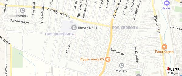 Автобусная улица 2-й проезд на карте Хасавюрта с номерами домов