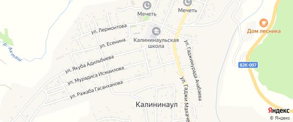 Хотайская улица на карте села Калининаула с номерами домов