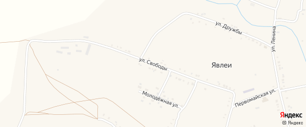 Улица Свободы на карте села Явлеи с номерами домов