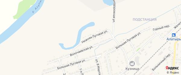 Нижняя Луговая улица на карте Алатыря с номерами домов