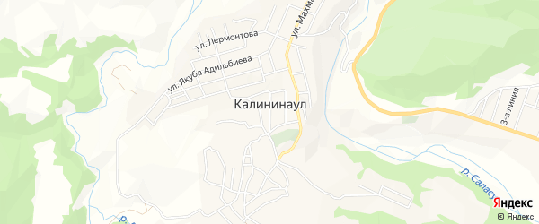 Карта села Калининаула в Дагестане с улицами и номерами домов