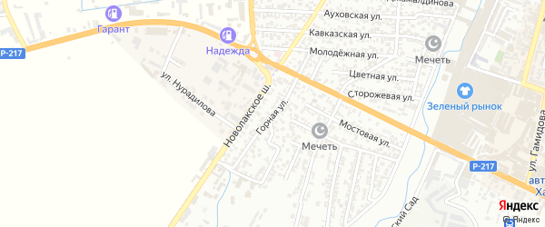 Горная улица на карте Хасавюрта с номерами домов