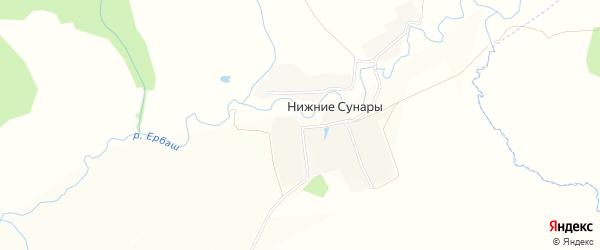 Карта деревни Нижние Сунары в Чувашии с улицами и номерами домов