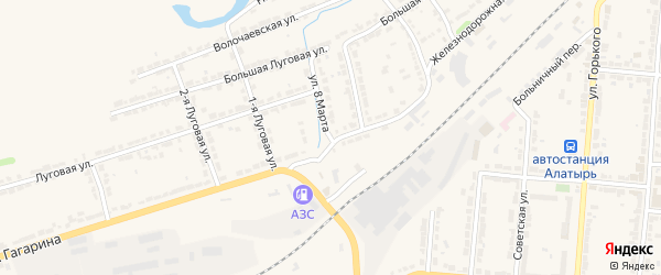 Улица 8 Марта на карте Алатыря с номерами домов
