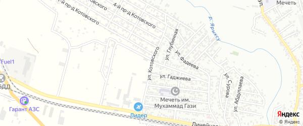 Улица Котовского на карте Хасавюрта с номерами домов