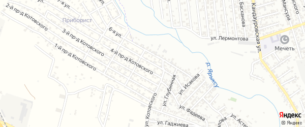 Глубинная улица 1-й проезд на карте Хасавюрта с номерами домов