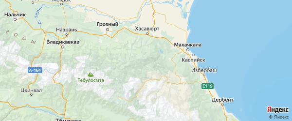 Карта Гумбетовского района республики Дагестан с городами и населенными пунктами