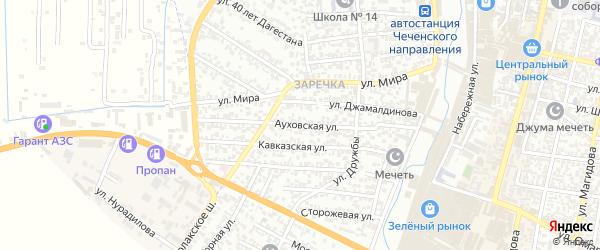 Ауховская улица на карте Хасавюрта с номерами домов