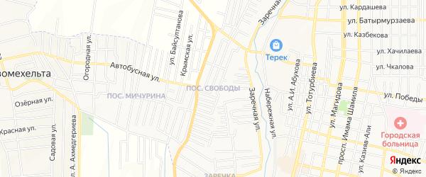 Карта поселка Свободы города Хасавюрта в Дагестане с улицами и номерами домов