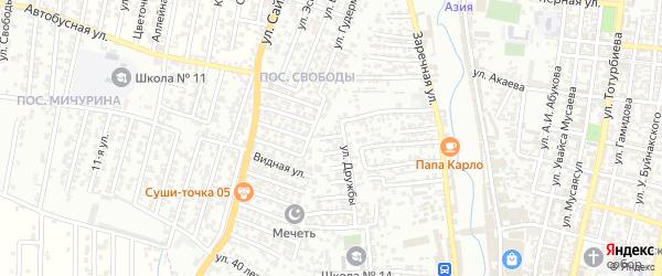 Дружбы 1-й проезд на карте Хасавюрта с номерами домов