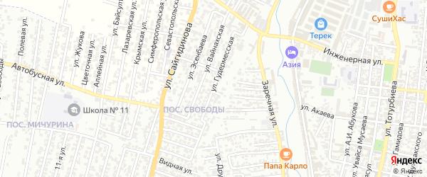 Гудермесская улица на карте поселка Свободы с номерами домов