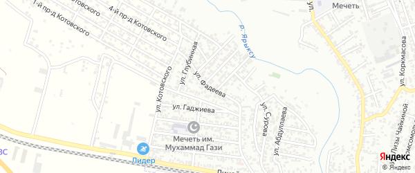 Улица Фадеева на карте Хасавюрта с номерами домов