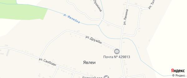 Улица Дружбы на карте села Явлеи с номерами домов