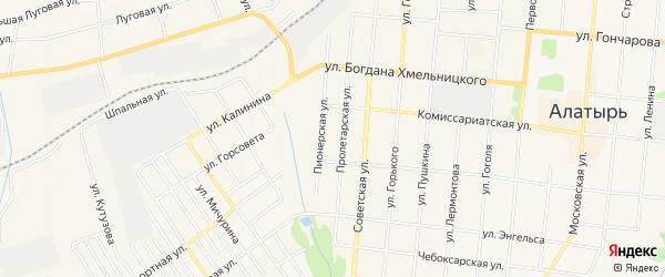 Овражный ГСК на карте Алатыря с номерами домов