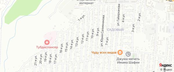 Грозненская улица 11-й проезд на карте Хасавюрта с номерами домов
