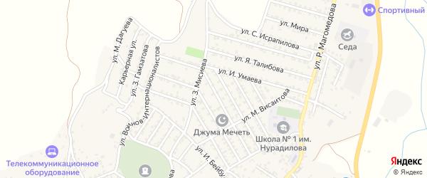 Улица А.Гамзаева на карте села Ленинаула с номерами домов