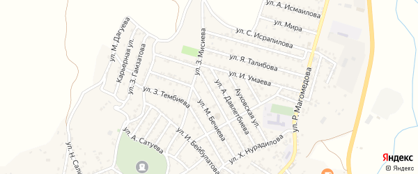 Улица З.Ибрагимова на карте села Ленинаула с номерами домов