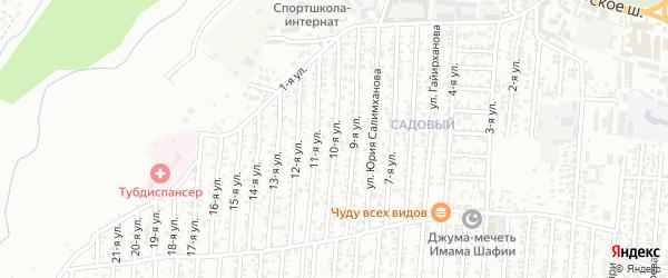 10-я улица на карте поселка Ветеранова с номерами домов