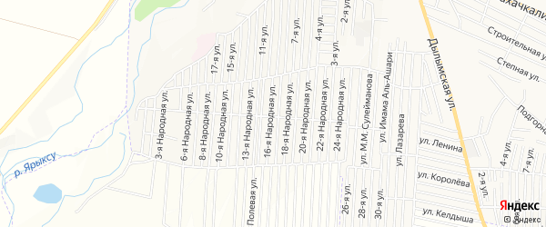 Карта Нового поселка города Хасавюрта в Дагестане с улицами и номерами домов