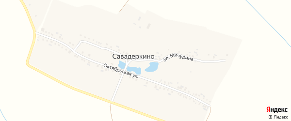 Октябрьская улица на карте деревни Савадеркино с номерами домов
