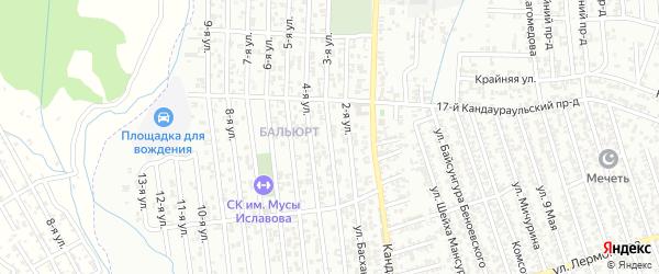 Глубинная улица 3-й проезд на карте Хасавюрта с номерами домов