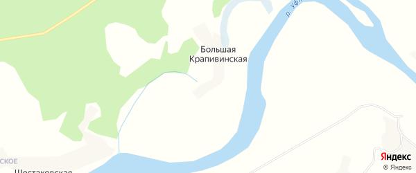 Карта Большей Крапивинской деревни в Архангельской области с улицами и номерами домов