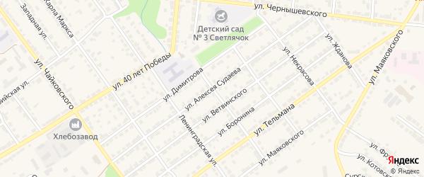 Улица Судаева на карте Алатыря с номерами домов