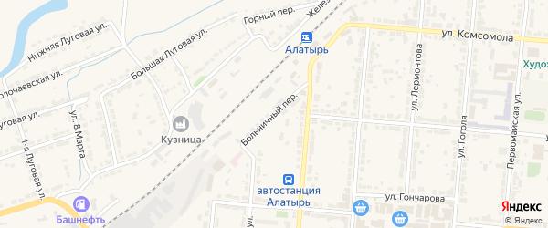 Больничный переулок на карте Алатыря с номерами домов