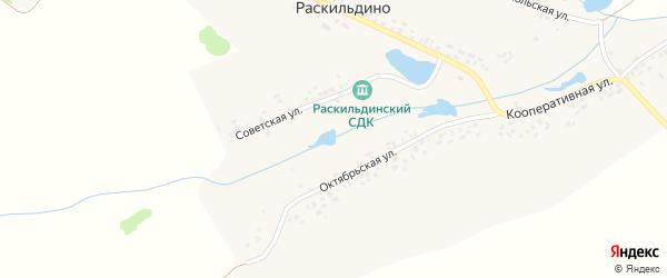 Комсомольская улица на карте села Раскильдино с номерами домов