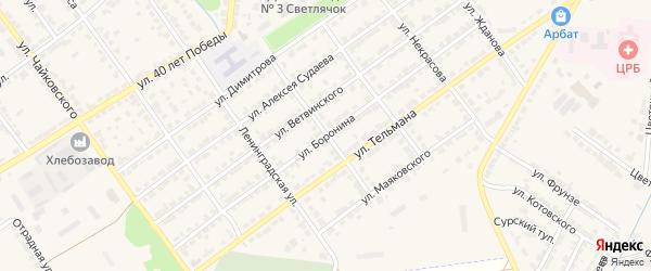 Улица Боронина на карте Алатыря с номерами домов