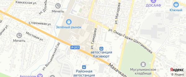 Улица Гамидова на карте Хасавюрта с номерами домов