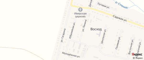 Юбилейная улица на карте поселка Восхода с номерами домов