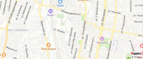 Улица Абукова А.И. на карте Хасавюрта с номерами домов