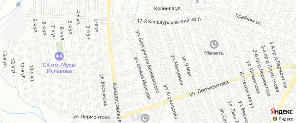 Улица Байсунгура Беноевского на карте Хасавюрта с номерами домов