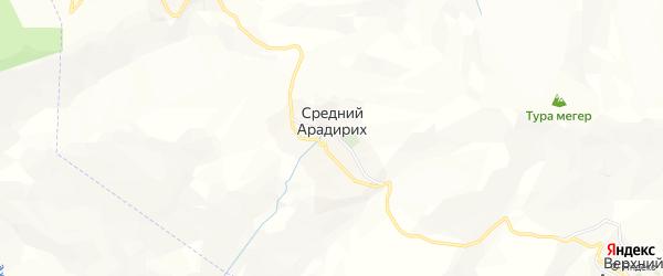 Карта села Среднего Арадириха в Дагестане с улицами и номерами домов