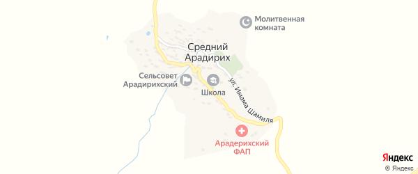 Улица Расула Гамзатова на карте села Среднего Арадириха с номерами домов