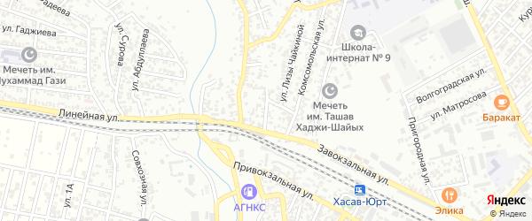 Железнодорожная улица на карте Хасавюрта с номерами домов