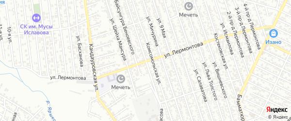 Улица Коркмасова на карте Хасавюрта с номерами домов