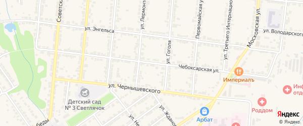 Чебоксарская улица на карте Алатыря с номерами домов
