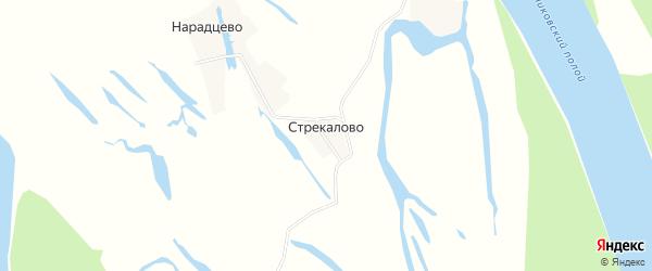 Карта деревни Стрекалово в Архангельской области с улицами и номерами домов