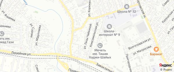 Улица Л.Чайкиной на карте Хасавюрта с номерами домов