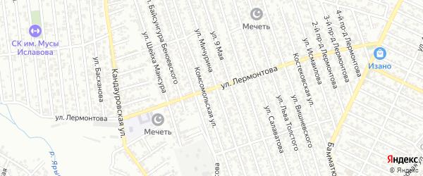 Улица Лермонтова на карте Хасавюрта с номерами домов