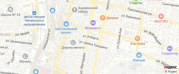 Улица 8 Марта на карте Хасавюрта с номерами домов