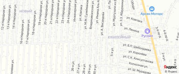Владикавказская улица на карте Юбилейного микрорайона с номерами домов
