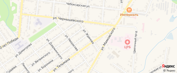 Улица Жданова на карте Алатыря с номерами домов